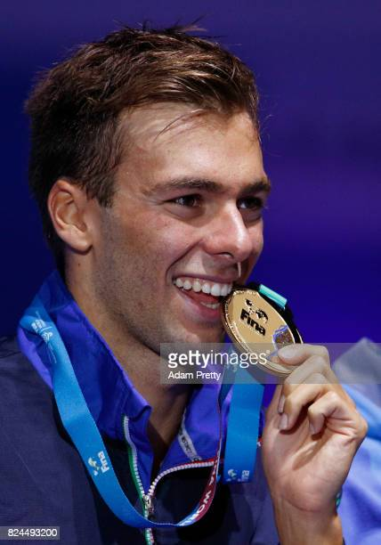 Gregorio Paltrinieri of Italy celebrates winning gold in the Men's 1500m Freestyle Final on day seventeen of the Budapest 2017 FINA World...
