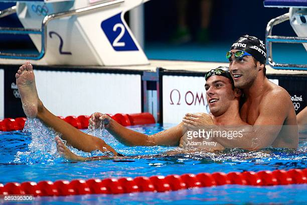 Gregorio Paltrinieri of Italy celebrates winning gold with Gabriele Detti of Italy who won bronze in the Men's 1500m Freestyle Final on Day 8 of the...