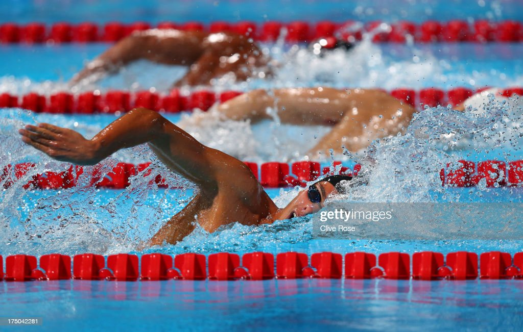 <a gi-track='captionPersonalityLinkClicked' href=/galleries/search?phrase=Gregorio+Paltrinieri&family=editorial&specificpeople=9426596 ng-click='$event.stopPropagation()'>Gregorio Paltrinieri</a> of Italy competes during the Swimming Men's 800m Freestyle prelminaries heat three on day eleven of the 15th FINA World Championships at Palau Sant Jordi on July 30, 2013 in Barcelona, Spain.