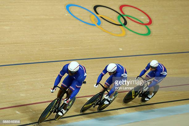 Gregory Bauge Francois Pervis and Michael D'Almeida of France compete in the Men's Team Sprint Track Cycling Qualifying on Day 6 of the 2016 Rio...