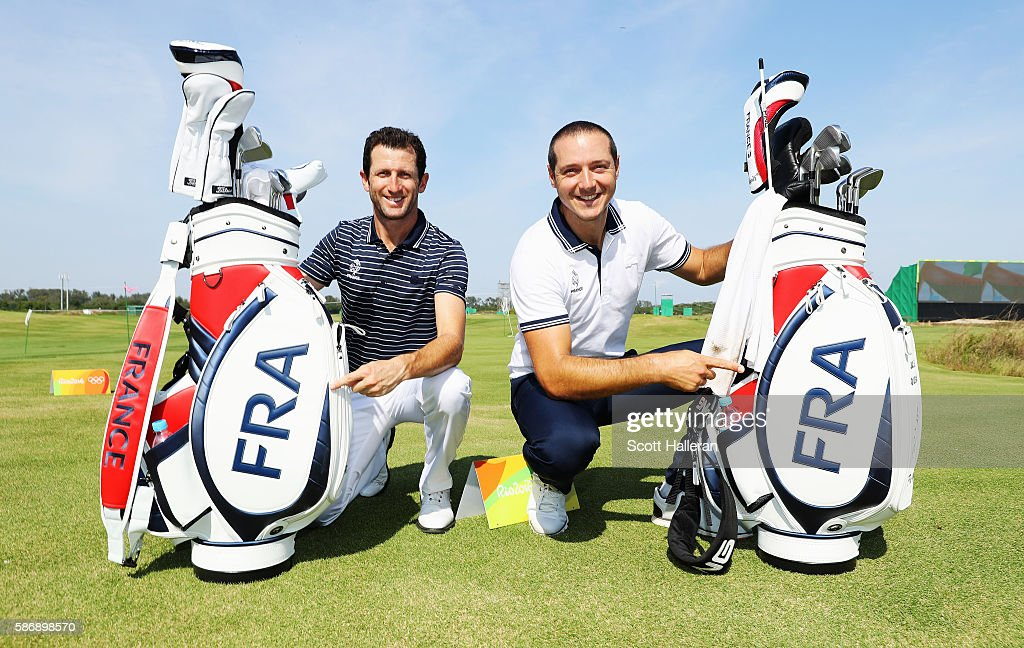 Gregory Bourdy (L) and Julien Quesne of France pose together during a practice day during Day 2 of the Rio 2016 Olympic Games at Olympic Golf Course on August 7, 2016 in Rio de Janeiro, Brazil.