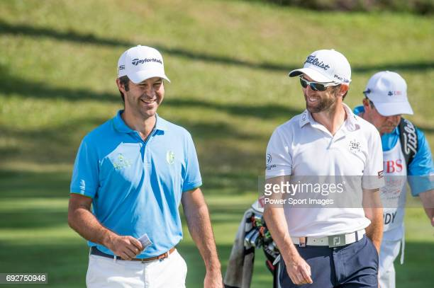 Gregory Bourdy of France and Jorge Campillo of Spain at the first hole during the 58th UBS Hong Kong Golf Open as part of the European Tour on 10...