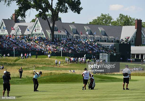 Gregory Bourdy of France hits a shot on the 14th hole during the continuation of the second round of the US Open at Oakmont Country Club on June 18...