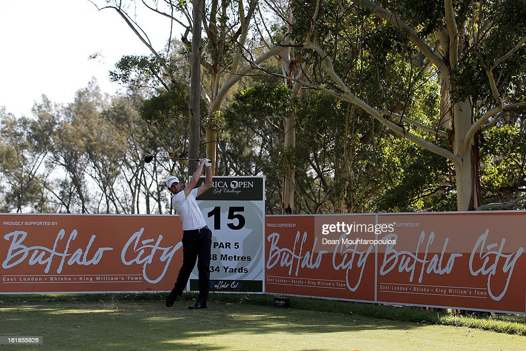 Gregory Bourdy of France hits his second shot on the 15th hole during Final Day of the Africa Open at East London Golf Club on February 17, 2013 in East London, South Africa.