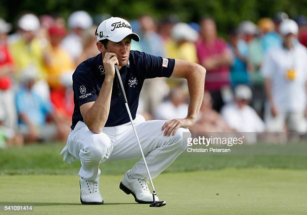 Gregory Bourdy of France looks over the second green during the third round of the US Open at Oakmont Country Club on June 18 2016 in Oakmont...