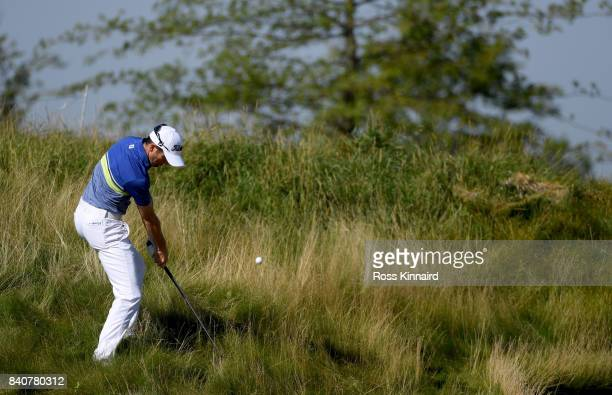 Gregory Bourdy of France on the 1st hole during the proam event prior to the DD REAL Czech Masters at the Albatross Golf Resort on August 30 2017 in...