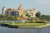 Gregory Bourdy of France play a shot during day one of the Thailand Golf Championship at Amata Spring Country Club on December 15 2011 in Chonburi...