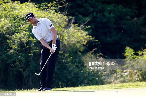 Gregory Bourdy of France plays a shot during the Lyoness Open day two at the Diamond Country Club on June 12 2015 in Atzenbrugg Austria