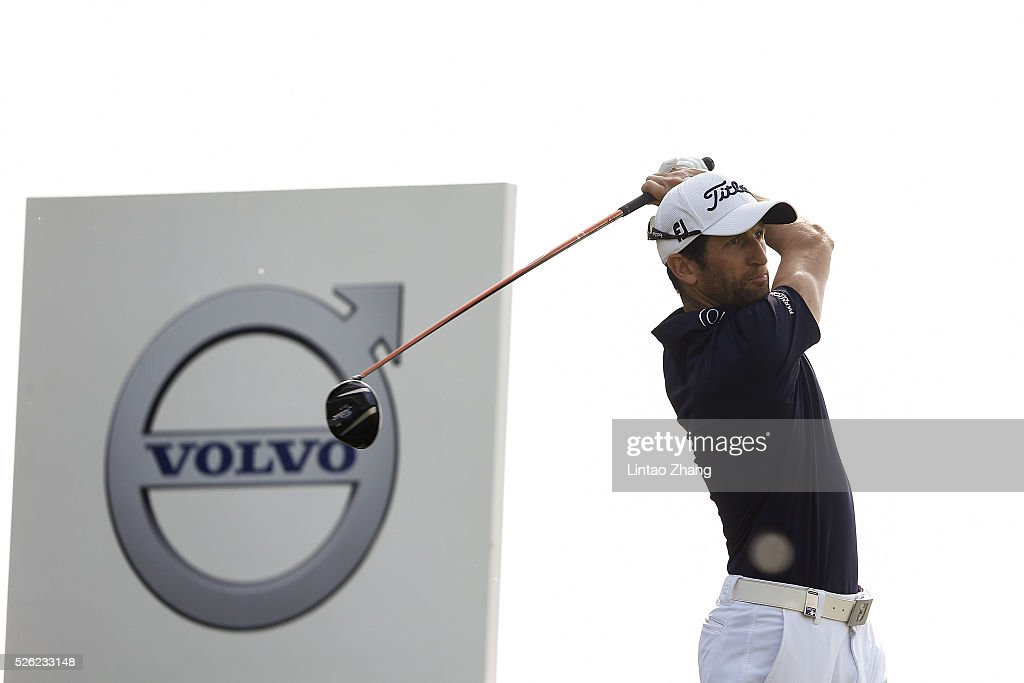 Gregory Bourdy of France plays a shot during the second round of the Volvo China open at Topwin Golf and Country Club on April 30, 2016 in Beijing, China.