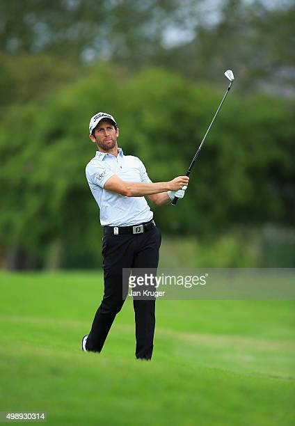 Gregory Bourdy of France plays an approach on the 8th hole during day two of the Alfred Dunhill Championship at Leopard Creek Country Golf Club on...