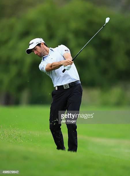 Gregory Bourdy of France plays an approach on thr 8th hole during day two of the Alfred Dunhill Championship at Leopard Creek Country Golf Club on...