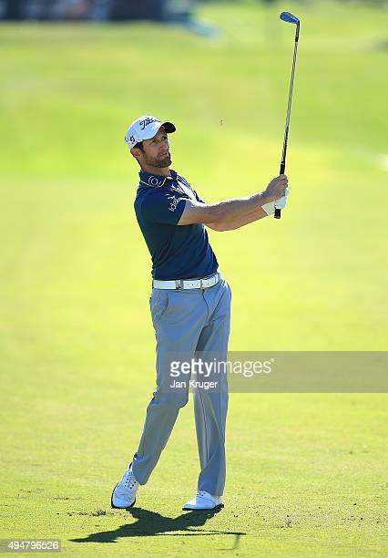 Gregory Bourdy of France plays an approach shot on hole three during the first round of the Turkish Airlines Open at The Montgomerie Maxx Royal Golf...