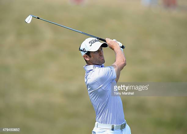 Gregory Bourdy of France plays his first shot on the 2nd tee during the Alstom Open de France Day Three at Le Golf National on July 4 2015 in Paris...