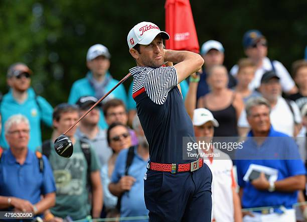 Gregory Bourdy of France plays his first shot on the 4th tee during the Alstom Open de France Day Four at Le Golf National on July 5 2015 in Paris...