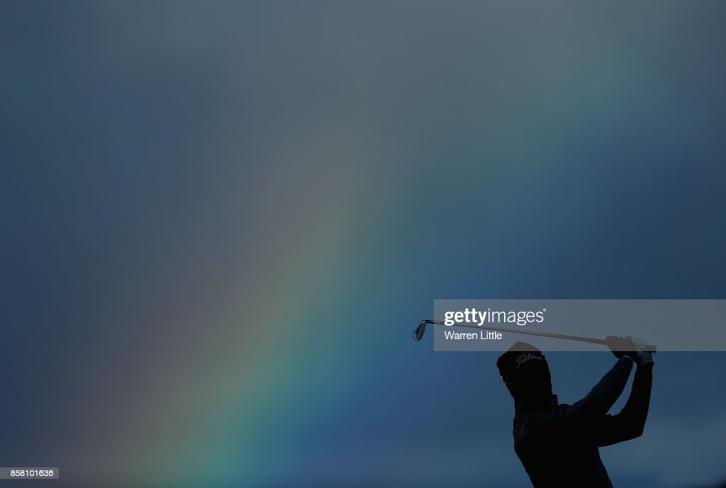 Gregory Bourdy of France plays his secod shot into the 18th green during the first round of the Alfred Dunhill Links Championship at Kingsbarns Golf CLub on October 5, 2017 in St Andrews, Scotland.