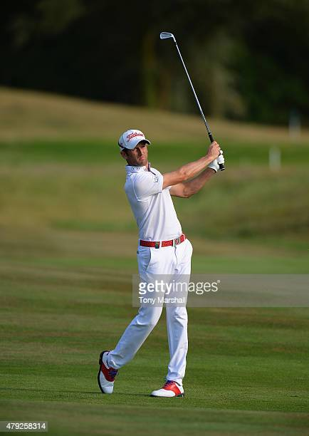 Gregory Bourdy of France plays his second shot on the 14th fairway during Alstom Open de France Day One at Le Golf National on July 2 2015 in Paris...