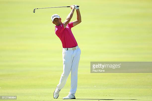 Gregory Bourdy of France plays his second shot on the 15th hole during day four of the 2016 Perth International at Karrinyup GC on February 28 2016...