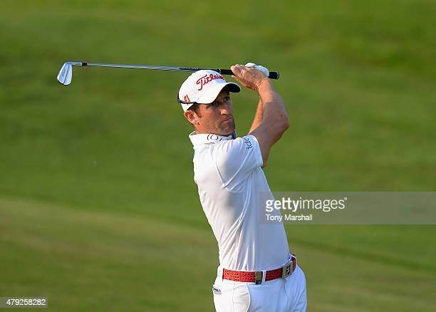 Gregory Bourdy of France plays his second shot on the 17th fairway during Alstom Open de France Day One at Le Golf National on July 2 2015 in Paris...