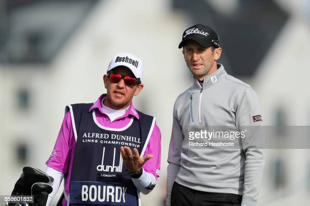 Gregory Bourdy of france plays his second shot on the 1st during day three of the 2017 Alfred Dunhill Championship at Carnoustie on October 7 2017 in...