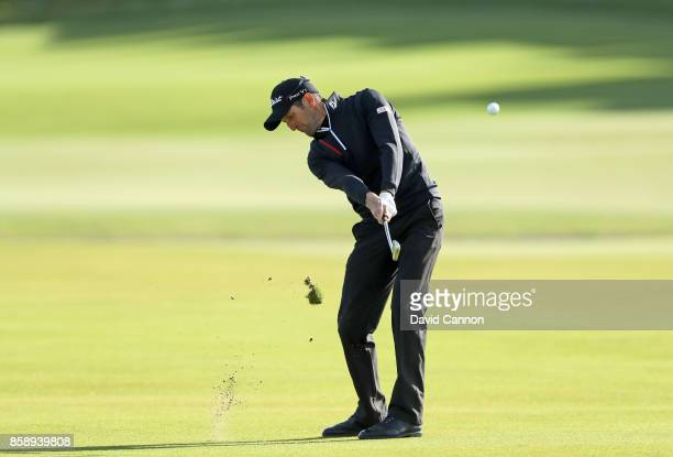 Gregory Bourdy of France plays his second shot on the first hole during the final round of the 2017 Alfred Dunhill Links Championship on the Old...