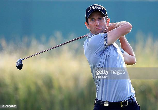 Gregory Bourdy of France plays his shot from the 11th tee during the first round of the US Open at Oakmont Country Club on June 16 2016 in Oakmont...