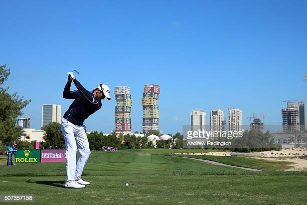Gregory Bourdy of France plays his tee shot on the 3rd during the third round of the Commercial Bank Qatar Masters at the Doha Golf Club on January...