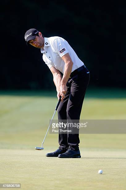 Gregory Bourdy of France putts during the Lyoness Open day two at the Diamond Country Club on June 12 2015 in Atzenbrugg Austria