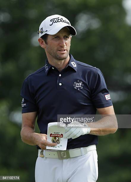 Gregory Bourdy of France reacts during the third round of the US Open at Oakmont Country Club on June 18 2016 in Oakmont Pennsylvania