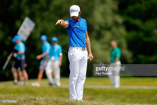 Gregory Bourdy of France takes a drop during the Lyoness Open day four at the Diamond Country Club on June 14 2015 in Atzenbrugg Austria