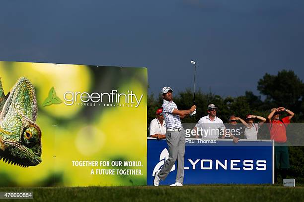 Gregory Bourdy of France tees off during the Lyoness Open day one at the Diamond Country Club on June 11 2015 in Atzenbrugg Austria