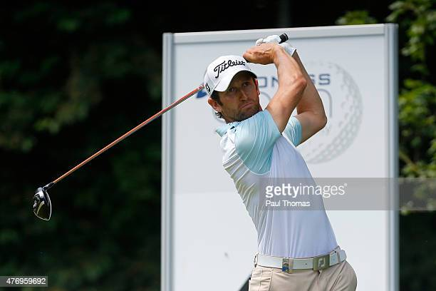 Gregory Bourdy of France tees off during the Lyoness Open day three at the Diamond Country Club on June 13 2015 in Atzenbrugg Austria