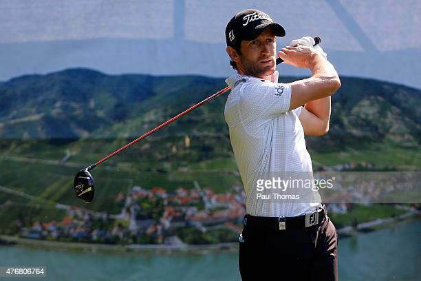 Gregory Bourdy of France tees off during the Lyoness Open day two at the Diamond Country Club on June 12 2015 in Atzenbrugg Austria