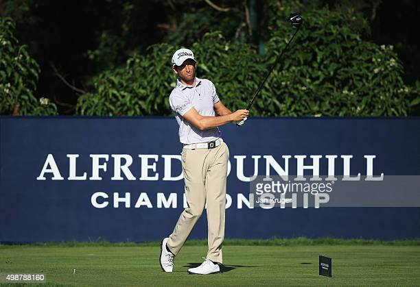 Gregory Bourdy of France tees off on the 10th hole during day one of the Alfred Dunhill Championship at Leopard Creek Country Golf Club on November...