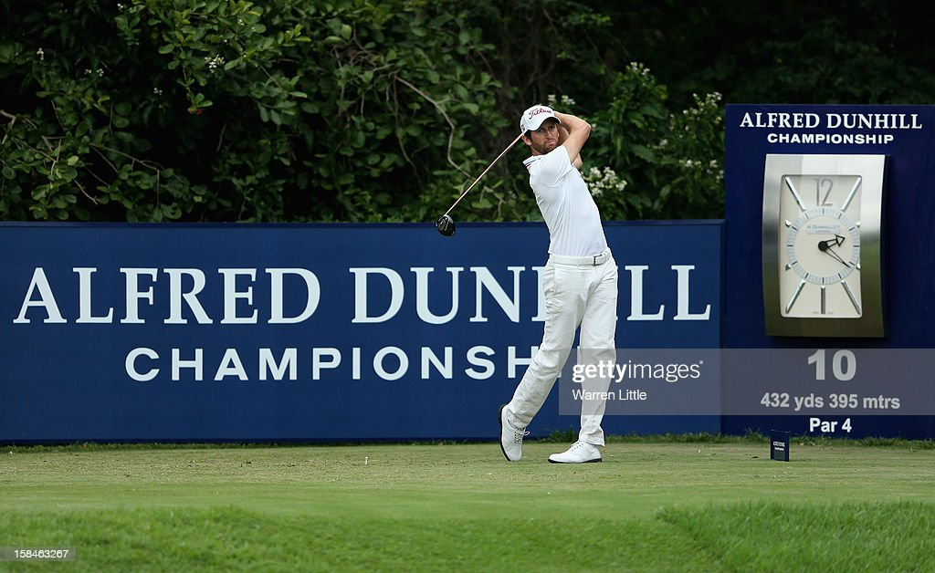 Gregory Bourdy of France tees off on the 10th hole during the final round of the Alfred Dunhill Championship at Leopard Creek Country Golf Club on December 16, 2012 in Malelane, South Africa.