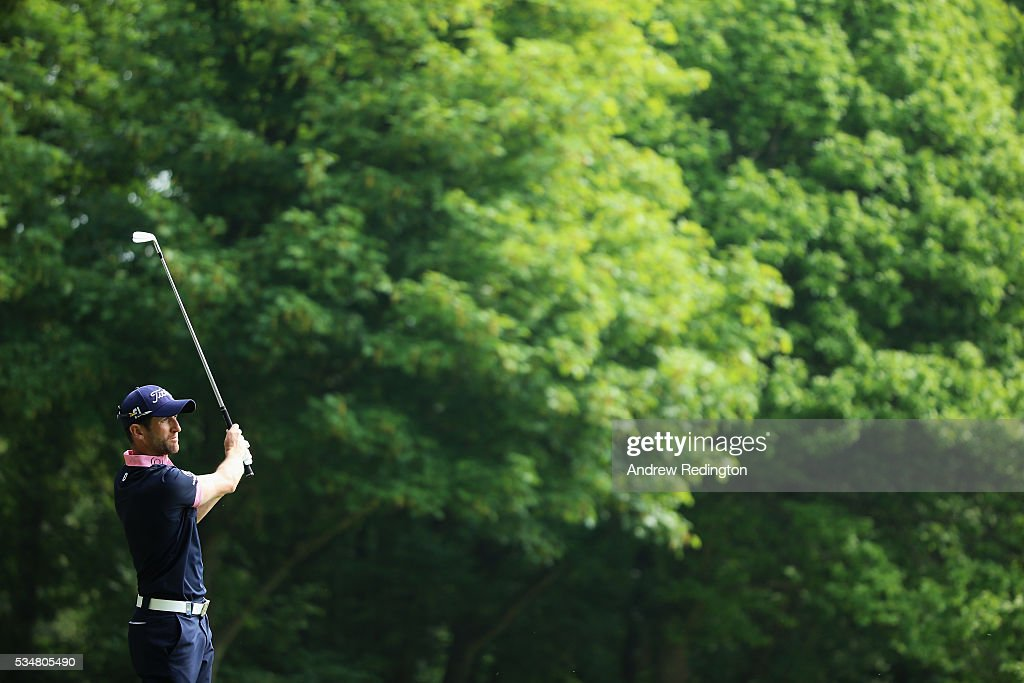 Gregory Bourdy of France tees off on the 3rd hole during day three of the BMW PGA Championship at Wentworth on May 28, 2016 in Virginia Water, England.