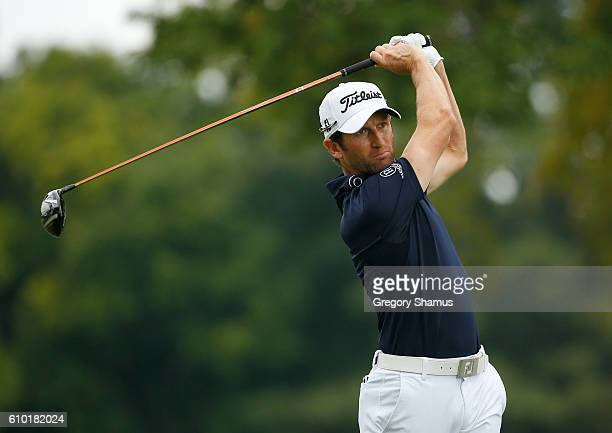 Gregory Bourdy of France watches his drive on the second hole during the third round of the Webcom Tour Nationwide Children's Hospital Championship...