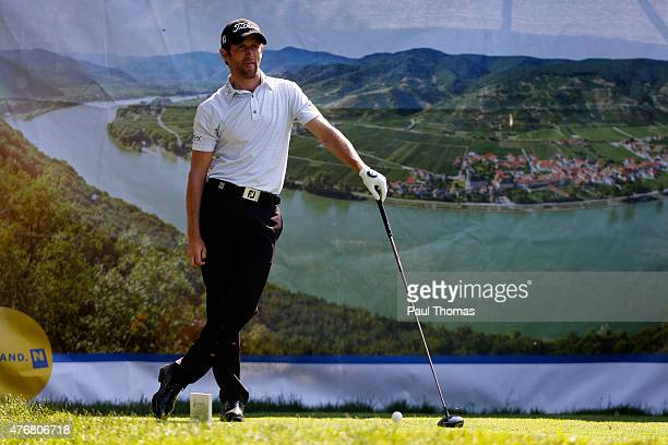 Gregory Bourdy of France watches on during the Lyoness Open day two at the Diamond Country Club on June 12 2015 in Atzenbrugg Austria