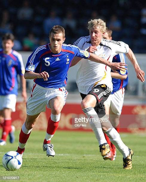 Gregory Bourillon of France and Stefan Kiessling of Germany during the 2006 UEFA European Under 21 Championship Group A match between France and...