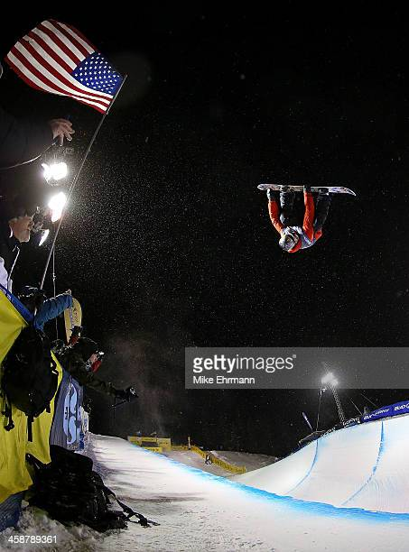 Gregory Bretz competes during finals for the mens FIS Snowboard Halfpipe World Cup at US Snowboarding and Freeskiing Grand Prix on December 21 2013...