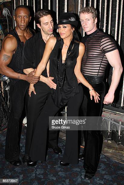 Gregory Butler Adam Zotovich The Pussycat Doll's lead singer Nicole Scherzinger and Brian O'Brien pose backstage at 'Chicago' on Broadway at The...