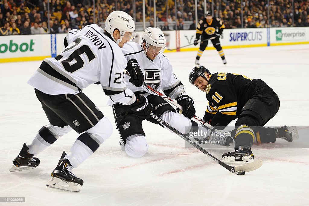 <a gi-track='captionPersonalityLinkClicked' href=/galleries/search?phrase=Gregory+Campbell&family=editorial&specificpeople=640895 ng-click='$event.stopPropagation()'>Gregory Campbell</a> #11 of the Boston Bruins fights for the puck against <a gi-track='captionPersonalityLinkClicked' href=/galleries/search?phrase=Slava+Voynov&family=editorial&specificpeople=8315719 ng-click='$event.stopPropagation()'>Slava Voynov</a> #26 and <a gi-track='captionPersonalityLinkClicked' href=/galleries/search?phrase=Colin+Fraser&family=editorial&specificpeople=2225768 ng-click='$event.stopPropagation()'>Colin Fraser</a> #24 of the Los Angeles Kings at the TD Garden on January 20, 2014 in Boston, Massachusetts.