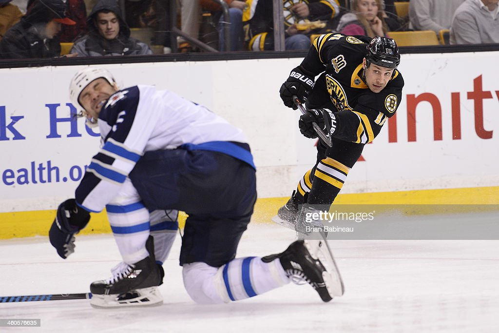 <a gi-track='captionPersonalityLinkClicked' href=/galleries/search?phrase=Gregory+Campbell&family=editorial&specificpeople=640895 ng-click='$event.stopPropagation()'>Gregory Campbell</a> #11 of the Boston Bruins shoots the puck against the Winnipeg Jets at the TD Garden on January 4, 2014 in Boston, Massachusetts.