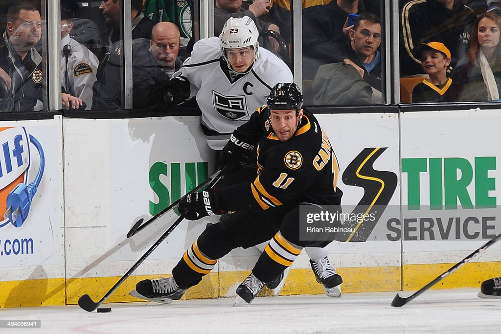 <a gi-track='captionPersonalityLinkClicked' href=/galleries/search?phrase=Gregory+Campbell&family=editorial&specificpeople=640895 ng-click='$event.stopPropagation()'>Gregory Campbell</a> #11 of the Boston Bruins skates after the puck against Dustin Brown #23 of the Los Angeles Kings at the TD Garden on January 20, 2014 in Boston, Massachusetts.