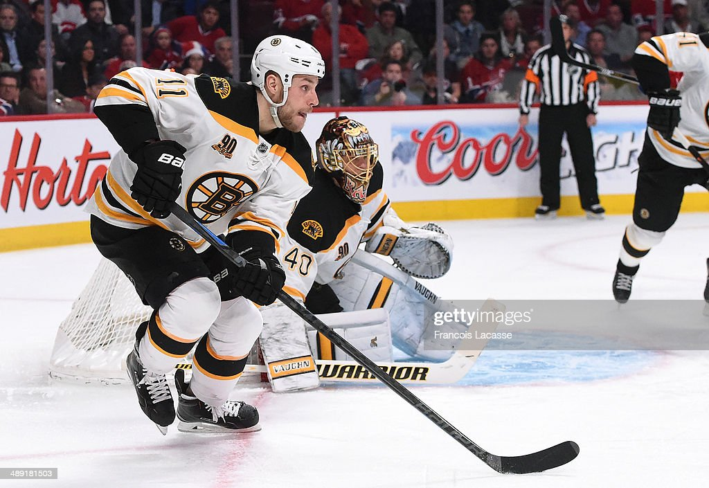 Gregory Campbell of the Boston Bruins skates with the puck against the Montreal Canadiens in Game Three of the Second Round of the 2014 Stanley Cup...
