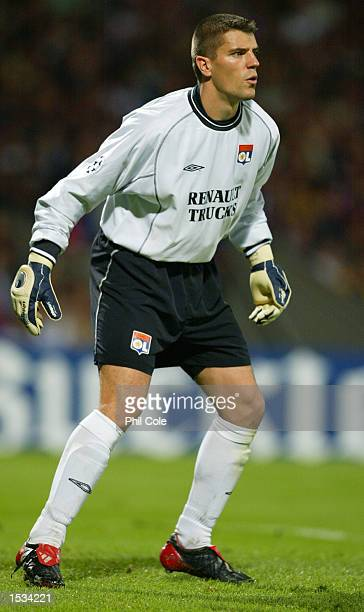 Gregory Coupet of Lyon during the UEFA Champions League First Phase Group D match between Lyon and Inter Milan at the Stade de Gerland in Lyon France...