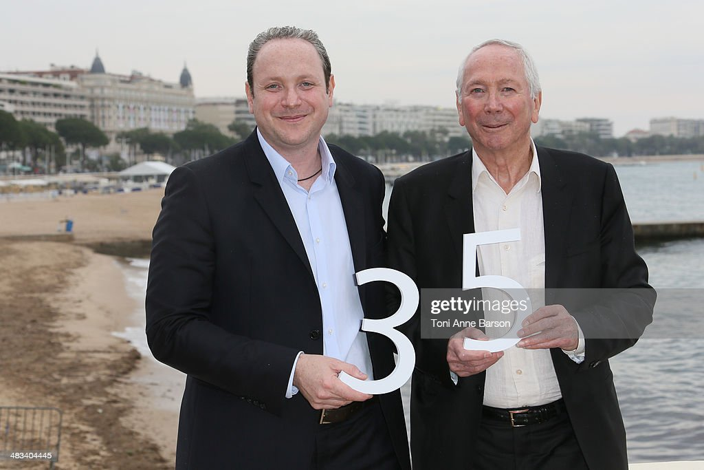 Gregory Dorcel and Marc Dorcel attend photocall for their 35th Anniversary at MIPTV 2014 at Hotel Majestic Jetty on April 8, 2014 in Cannes, France.