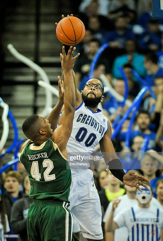 Gregory Echenique #0 of the Creighton Bluejays blocks the shot of Rod Rucker #42 of the UAB Blazers during their game at CenturyLink Center on November 14, 2012 in Omaha, Nebraska.