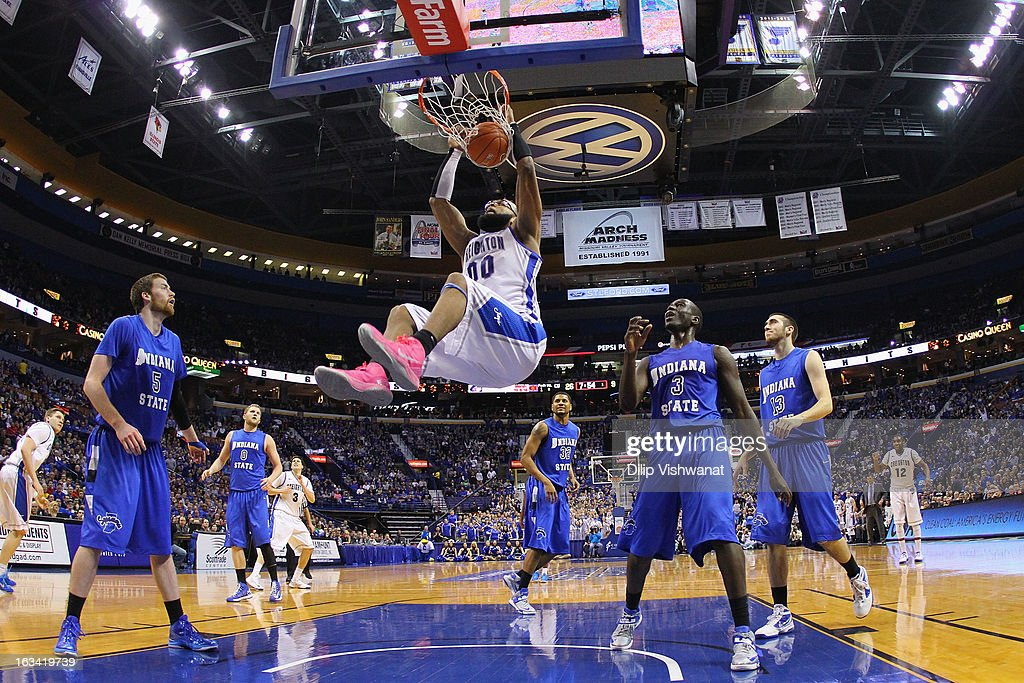 Gregory Echenique #00 of the Creighton Bluejays dunks the ball against the Indiana State Sycamores during the semifinals of the Missouri Valley Conference Tournament at the Scottrade Center on March 9, 2013 in St. Louis, Missouri.