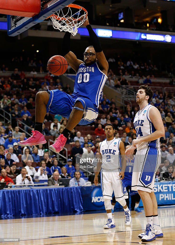 <a gi-track='captionPersonalityLinkClicked' href=/galleries/search?phrase=Gregory+Echenique&family=editorial&specificpeople=5648736 ng-click='$event.stopPropagation()'>Gregory Echenique</a> #00 of the Creighton Bluejays dunks the ball in the second half while taking on the Duke Blue Devils during the third round of the 2013 NCAA Men's Basketball Tournament at Wells Fargo Center on March 24, 2013 in Philadelphia, Pennsylvania.