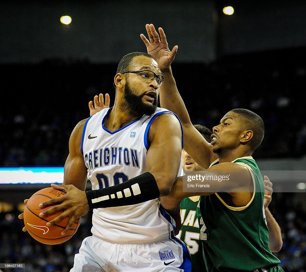 Gregory Echenique #0 of the Creighton Bluejays is guarded by Rod Rucker #42 of the UAB Blazers during their game at CenturyLink Center on November 14, 2012 in Omaha, Nebraska.